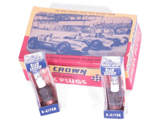 CIRCA 1940S-50S BLUE CROWN SPARK PLUGS DISPLAY BOX