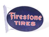 1930S FIRESTONE TIRES PORCELAIN FLANGE SIGN