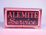 1930S ALEMITE SERVICE ETCHED GLASS WITH NEON COUNTERTOP SIGN