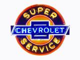 1940S-50S CHEVROLET SUPER SERVICE NEON PORCELAIN SIGN
