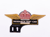 1930S STANDARD OIL RESEARCH TEST CAR TIN LICENSE PLATE SIGN