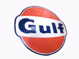LARGE LATE 1950S-EARLY 60S GULF OIL PORCELAIN SIGN
