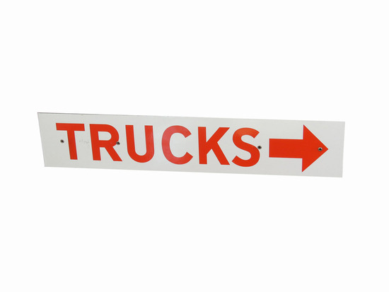 "CIRCA 1950S ""TRUCKS"" PORCELAIN DIRECTIONAL SIGN"