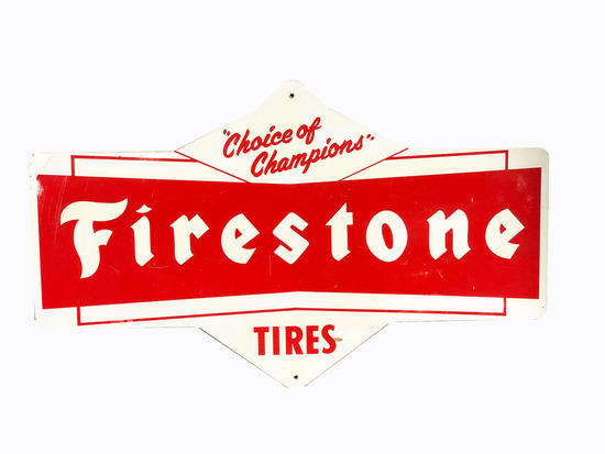 CIRCA 1960S FIRESTONE TIRES TIN SIGN