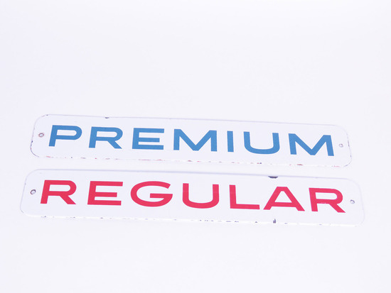 "LOT OF TWO LATE 1950S-EARLY '60S ""PREMIUM - REGULAR"" PORCELAIN PUMP PLATE SIGNS"