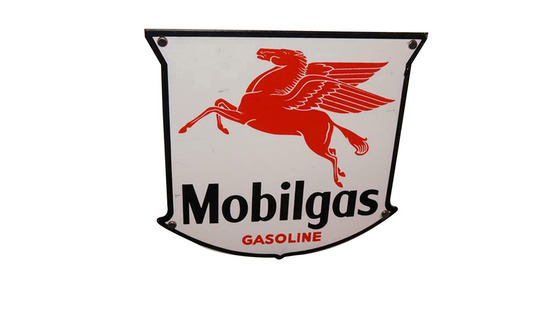 LATE 1940S-EARLY '50S MOBILGAS PORCELAIN PUMP PLATE SIGN