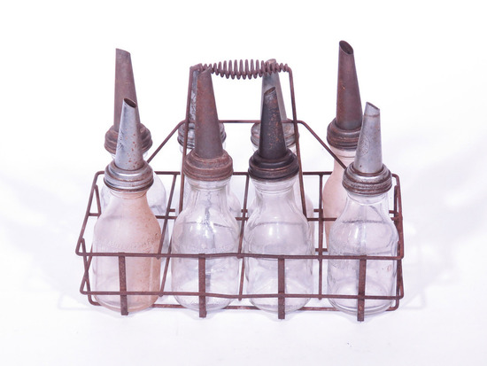 1930S FUEL ISLAND PORTABLE BOTTLE RACK WITH GLASS BOTTLES