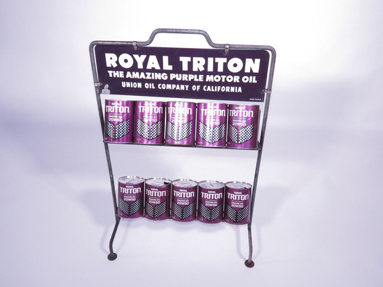 VINTAGE UNION 76 ROYAL TRITON MOTOR OIL OIL CAN DISPLAY RACK