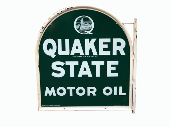 VINTAGE QUAKER STATE MOTOR OIL TIN SIGN