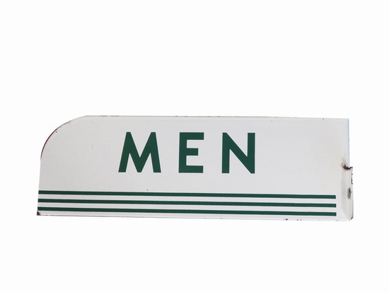 "1950S TEXACO OIL ""MEN"" PORCELAIN RESTROOM SIGN"
