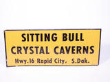 1950S SITTING BULL CRYSTAL CAVERNS TIN SIGN