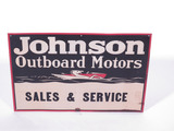 1930S JOHNSON OUTBOARD MOTORS EMBOSSED TIN SIGN