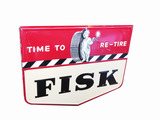 1949 FISK TIRES EMBOSSED TIN SIGN