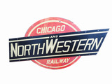 VINTAGE CHICAGO AND NORTHWESTERN RAILWAY METAL SIGN