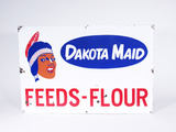 CIRCA 1940S-50S DAKOTA MAID FEEDS-FLOUR PORCELAIN SIGN