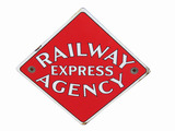 CIRCA 1930S RAILWAY EXPRESS AGENCY PORCELAIN SIGN