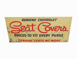 1940S-50S GENUINE CHEVROLET SEAT COVERS EMBOSSED TIN SIGN
