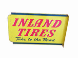 LATE 1940S-EARLY '50S INLAND TIRES TIN FLANGE SIGN
