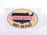 CIRCA 1940S TRAILWAYS BUS DEPOT PORCELAIN SIGN