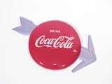 1950S COCA-COLA TIN BUTTON ARROW SIGN