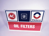 VINTAGE GM AC-DELCO OIL FILTERS TIN SIGN