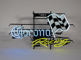 NOS CORONA RACING LIGHT-UP NEON TAVERN SIGN WITH FLAG.