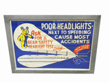 LATE 1930S DEALER POSTER FOR BEAR HEADLIGHT SAFETY TESTING