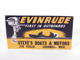 1940S EVINRUDE OUTBOARD MOTORS EMBOSSED TIN SIGN