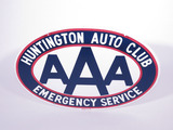 1950S HUNTINGTON AUTO CLUB AAA PORCELAIN SIGN