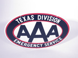LATE 1950S-EARLY '60S AAA TEXAS DIVISION EMERGENCY SERVICE PORCELAIN SIGN