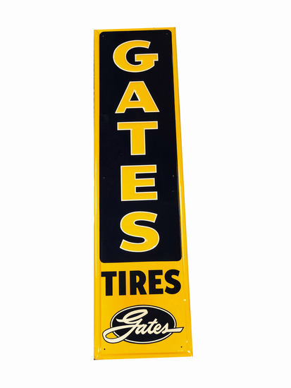 CIRCA 1950S GATES TIRES TIN SIGN
