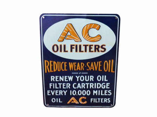 1948 AC OIL FILTERS EMBOSSED TIN SIGN