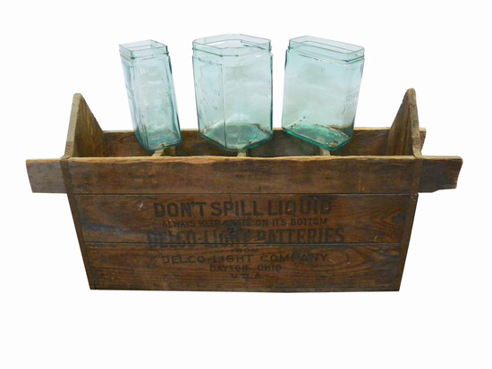 1930S DELCO BATTERIES AQUA GLASS JARS WITH CARRIER BOX
