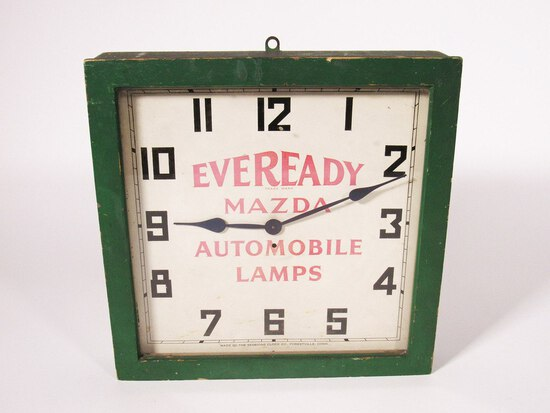 1920A EVEREADY MAZDA AUTOMOBILE LAMPS ELECTRIC WALL CLOCK