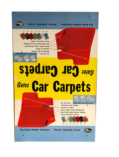 1950S-EARLY '60S GATES CAR CARPETS TIN SIGN