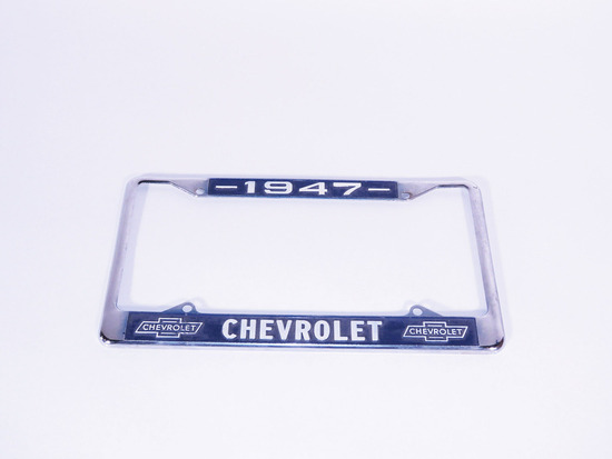 1947 CHEVROLET EMBOSSED METAL LICENSE PLATE FRAME