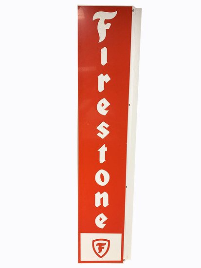 VINTAGE FIRESTONE TIRES TIN FLANGE SIGN