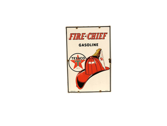 1947 TEXACO FIRE CHIEF GASOLINE PORCELAIN PUMP PLATE SIGN
