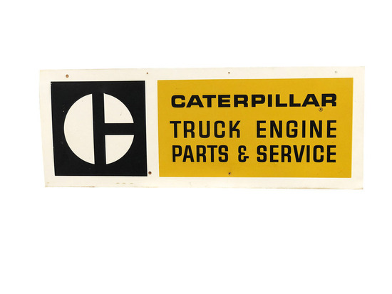 VINTAGE CATERPILLAR TRUCK ENGINE PARTS & SERVICE TIN SIGN