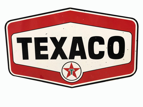LARGE LATE 1950S-EARLY '60S TEXACO OIL PORCELAIN SIGN