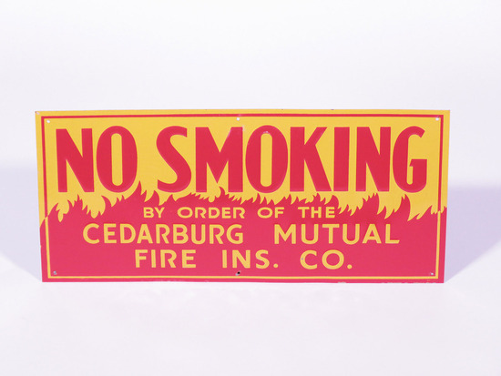 "CIRCA 1930S-40S ""NO SMOKING"" TIN SIGN"