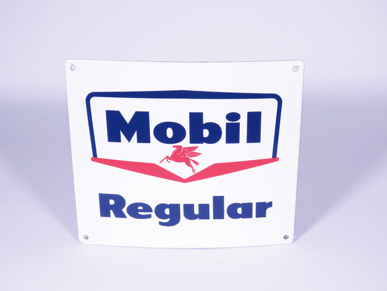 LATE 1950S MOBIL REGULAR PORCELAIN PUMP PLATE SIGN