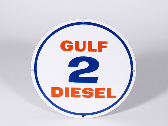 LATE 1950S-EARLY '60S GULF DIESEL 2 PORCELAIN PUMP PLATE SIGN