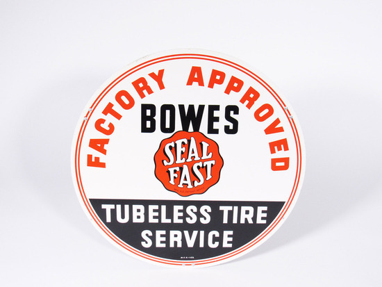EARLY 1960S BOWES SEAL FAST TUBELESS TIRE SERVICE TIN SIGN