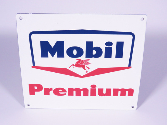 LATE 1950S MOBIL PREMIUM PORCELAIN PUMP PLATE SIGN