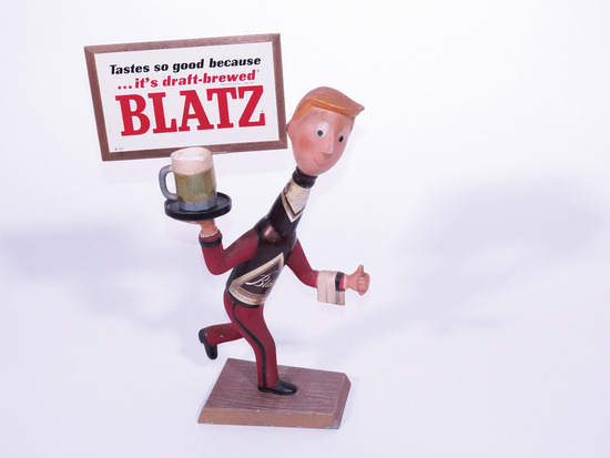 1950S BLATZ BEER THREE-DIMENSIONAL CAST-METAL DISPLAY PIECE