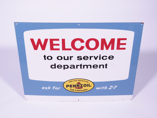 "1967 PENNZOIL ""WELCOME TO OUR SERVICE DEPARTMENT"" TIN SIGN"