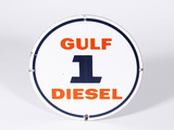 UNCOMMON LATE 1950S-EARLY '60S GULF DIESEL 1 PORCELAIN PUMP PLATE SIGN
