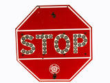 1930S AUTO CLUB SOUTHERN CALIFORNIA EMBOSSED PORCELAIN STOP SIGN