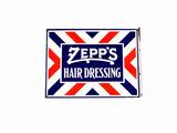 1920S-30S ZEPP'S HAIR DRESSING PORCELAIN FLANGE SIGN